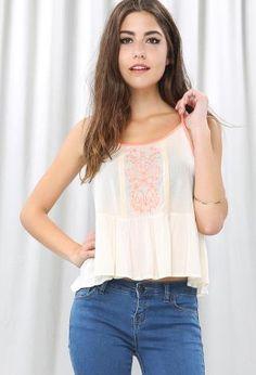 Embroidery Peplum Cami Top | Shop Tops at Papaya Clothing