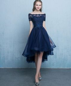 Cheap Easy Prom Dresses Blue Dark Blue Lace Tulle Short Sleeve High Low Round Neck A-Line Short Prom Dresses Uk - Available Options Source by OneEyedWolf - Short Prom Dresses Uk, Dark Blue Prom Dresses, High Low Evening Dresses, Prom Dresses With Sleeves, Sweet 16 Dresses, Dresses For Teens, Sexy Dresses, Dress Prom, Elegant Dresses