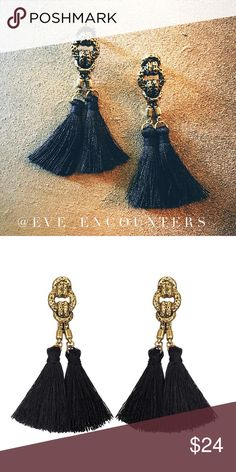 "🆕|ANTIQUED GOLD KNOT TASSELS EARRINGS| Stunning black and gold earrings! Features a unique antique knotted design. So chic and on trend! 3"" Drop/length. Imported. EVETTE ENCOUNTERS Jewelry Earrings"