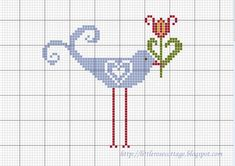♥ ♥ cross stitch bird and tulip flower Free Cross Stitch Charts, Cross Stitch Freebies, Cross Stitch Love, Cross Stitch Animals, Cross Stitch Flowers, Cross Stitch Designs, Cross Stitch Patterns, Free Charts, Cross Stitching