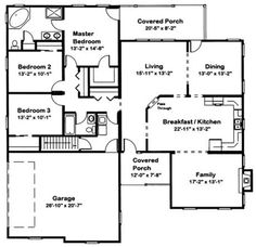 One story 4 bedroom 2 bath traditional style house plan for Blandford homes floor plans