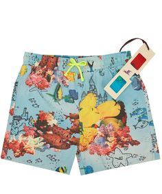 Stella McCartney Kids Age 2 to 14 Blue Fish Tyler Swim Shorts | Childrenswear | Liberty.co.uk