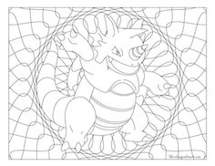 Free printable Pokemon coloring page-Rhydon. Visit our page for more coloring! Coloring fun for all ages, adults and children. Manga Coloring Book, Pokemon Coloring Pages, Mandala Coloring Pages, Coloring Book Pages, Printable Coloring Pages, Papercraft Pokemon, Pokemon Cross Stitch, Doodle Pages, Doodle Art