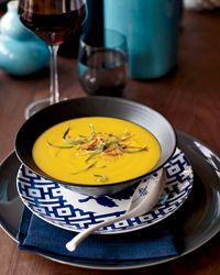 Lovely colors and fragrances from this Thai Red-Curry Squash Soup Recipe from Food & Wine. Wouldn't this go well with turkey sandwiches on Friday?