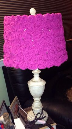 Shabby chic lamp with hand crafted shade on Etsy, $100.00