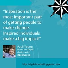 Inspiration is the most important part of getting people to make a change. Inspired individual make a big impact! Digital Marketing Quotes, Make A Change, Email Marketing, Social Media, Inspired, Big, People, How To Make, Inspiration