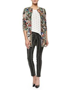 Rory Beaded Sequined Collarless Jacket, Robin Embroidered Short-Sleeve Top & Striped Low-Rise Slim Trousers Onsale