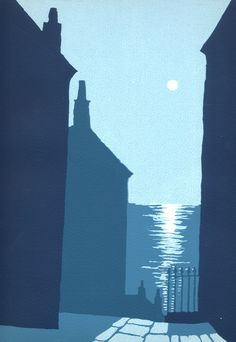 Moon Between the Houses Screenprint by Ian Scott Massie Reflection Pictures, Building Painting, Linoprint, Artist Sketchbook, Tapestry Design, Monuments, Elements Of Art, Landscape Art, Art Lessons