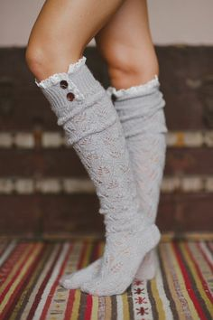 Lace Button Boot Sock Taupe Thick Cushy Soft Grayish Brownish Crochet Lace Wood Button Top Original article and pictures take https:. Lace Knitting, Crochet Lace, Cotton Crochet, Lace Boot Socks, Merino Wool Socks, Lace Button, Fashion Socks, Pulls, Autumn Fashion