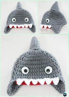 Crochet Shark Earflap Hat Free Pattern Instructions-DIY Crochet Ear Flap Hat Free Patterns