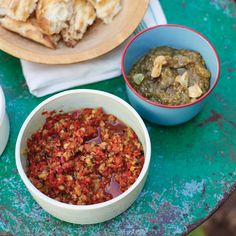 Made by Christine Sullivan  YUM  This versatile dip of roasted red peppers, raisins, and capers can be spread onto grilled flatbread, used as a sandwich condiment, or spooned over grilled chicken.