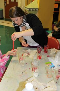 Child Life Specialist, Lauren Shinn, facilitated a therapeutic activity today. Children learned about white blood cells, red blood cells, plasma and clotting factor as they made their blood clots. Therapeutic Activity- Making blood clots in the Robin Bush Child and Adolescent Center — at MD Anderson Children's Cancer Hospital.
