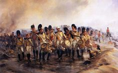 """Steady the Drums and Fifes, a painting of the 57th Middlesex foot at Albuera by Lady Butler. The phrase Die Hard was born on this day, courtesy of Colonel Robert Inglis of the 57th Middlesex Foot Regiment, severely wounded in the neck, refused to relinquish command, and repeatedly shouted """"Die hard 57s, die hard!"""" The French were eventually forced to retreat, in spite of 2/3rds of the Regiment being killed or wounded."""