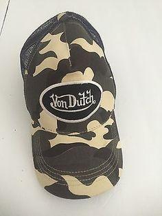 Von Dutch Embroidered Camouflage Trucker Mesh Snapback Hat Cap