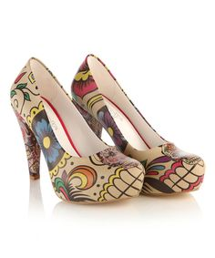 Look at this Beige & Red Sugar Skull Pump on #zulily today!