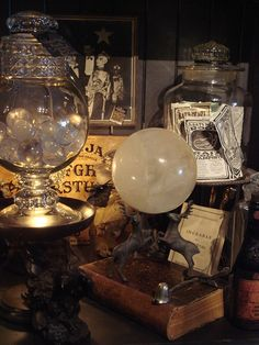 Huge ROCK CRYSTAL BALL on Vintage Stand at by GothicRoseAntiques