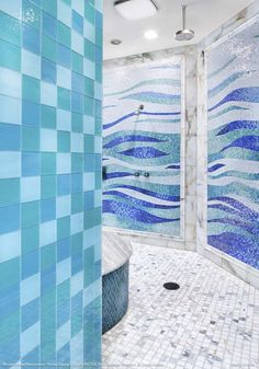 Fun cool patterns with the tile colors.  JAUREGUI Architecture, Interiors & Construction - Contemporary Bathroom