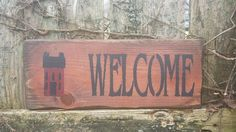 "Grungy Saltbox House WELCOME Distressed Primitive Home Wood Sign 4-3/4""x12"" #UniquePrimtiques #RusticPrimitive"