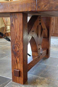 Custom Made Reclaimed Heart Pine Farmhouse Dining Table