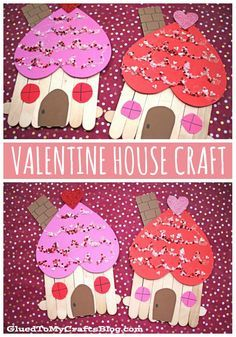 Winter crafts for kids - Popsicle Stick Valentine Gingerbread House Craft – Winter crafts for kids Popsicle Stick Crafts For Kids, Valentine's Day Crafts For Kids, Valentine Crafts For Kids, Valentines Day Activities, Craft Stick Crafts, Preschool Crafts, Projects For Kids, Holiday Crafts, Children Crafts