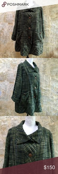 """Yasuko Kurisaka vintage coat Yasuko Kurisaka vintage coat. In UEC. One size. Sits small to large. Designer made most garments one size fits all. Hand woven cotton. Bamboo buttons on front and pockets. Sleeves shown rolled up, but can be rolled down as well. 100% cotton. Green, black, with golden yellow accents. Measurements: underarm to underarm 22"""", length 32"""". Yasuko Kurisaka Jackets & Coats"""