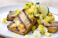grilled jerk tofu steaks with pineapple & coconut salsa #vegan use gf/soy free recipe for main