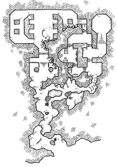 "I drew these because I realized that I have very little in the way of, what I guess I could call, ""digestible"" dungeon maps–ones you might could go through in a single gaming sess…"