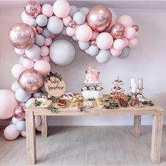 Eanjia Balloon Arch & Garland Kit Double-Stuffed Pastels Pink Gray Rose Gold Confetti Balloons Bulk for Wedding Baby Shower Birthday Party Shop Decoration (Pink) Décoration Baby Shower, Baby Shower Garland, Bridal Shower Balloons, Wedding Balloons, Bridal Shower Decorations, Birthday Balloons, Baby Shower Parties, 18 Birthday Party Decorations, Baby Showers