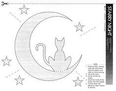 Cat & moon Halloween pattern at http://www.halloweenpumpkins.be/img/patterns/pattern03.jpg
