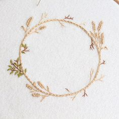 Autumn/harvest wreath in progress  #wip #embroidery