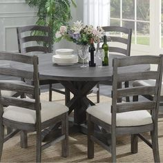 Shop Emerald Home Paladin Rustic Dining Table - On Sale - Overstock - 20338768 - Trestle - Grey Finish - Pine/Metal - Light Grey - Rustic Grey Round Dining Table, Dining Room Bar, Dining Room Design, Dining Room Furniture, Dining Chairs, Round Tables, Kitchen Tables, Small Furniture, Dining Furniture