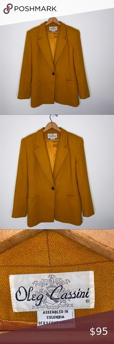 Vtg Oleg Cassini Orange Black Wool Blazer 14 Suit Jacket Sport Coat Womens 90s Vintage 1990s