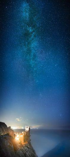 Swalow's Nest Castle and Milky Way. Southern UKRAINE