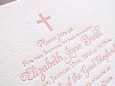 Letterpress Baptism Invitations - 25 flat cards - 1 color - Baptism or Christening