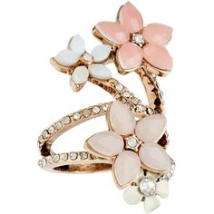 Accessorize Flower Bouquet Ring ($33) ❤ liked on Polyvore featuring jewelry, rings, accessories, flower jewellery, flower ring, flower jewelry, sparkle jewelry and accessorize jewelry
