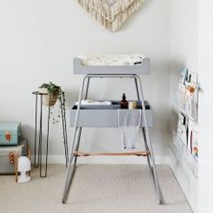 BZBX Changing TOWER/Changing Table Grey/Natural Leather