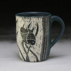 Reba mug; Clay Studio, Clay Mugs, Sgraffito, Pottery Mugs, Ceramics, Dishes, Tableware, Mugs, Blue Prints
