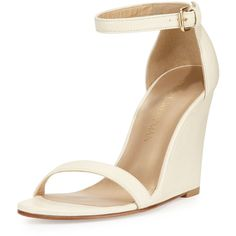 Stuart Weitzman Walkway Leather Ankle-Strap Wedge Sandal ($385) ❤ liked on Polyvore featuring shoes, sandals, string, open toe wedge sandals, ankle strap flats, ankle strap sandals, leather sandals and wedge heel sandals