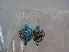 Heart shaped Acrylic Beads with turquoise Swarovski by Nanajanece, $25.00
