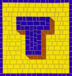 Mosaic Letter T - The Tieton Alphabet  Tieton Mosaic is a mosaic sign company in Tieton, WA specializing in typographic glass mosaic signage