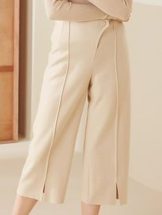 Beige Buttoned Casual Wide Leg Pants