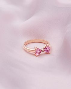 b697b7952 ILIAA 9ct rose gold and pink tourmaline bow ring #TedToToe Baker Ring,  Diamond Bows