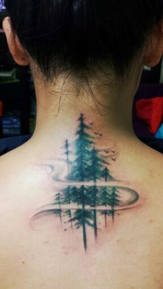 I was born and raised in a small place called Baguio City, Philippines- famously known as the City of Pine. I now live in Australia, but I do get home sick so I got this tattoo to remind me that home isn't too far away. I wanted to place this tattoo on my neck/ upper back because that area is known as your 'atlas'. It's where your brain stem breaks off into every other nerve in your body. If you look at a photo of the human body's nervous system, it looks like roots. These are my roots…