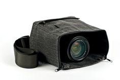 The Cloak Camera Bag - A shoot-through camera bag with a zippered bottom to free your lens. ($40.00, http://photojojo.com/store)