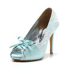 Cherish Tiffany Blue Peep Toe Wedding Heel with by ChristyNgShoes