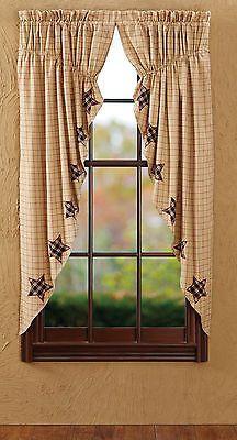 Bingham Star Applique Prairie Curtains Set Primitive Country Panel Red/Tan Plaid- sold on eBay (diana-rrt)