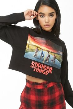 Stranger Things Cropped Graphic Tee - New Ideas : Stranger Things Cropped Graphic Tee Stranger Things Cropped Graphic Tee Teen Fashion Outfits, Outfits For Teens, Trendy Outfits, Cool Outfits, Stranger Things Shirt, Cute Sleepwear, Marvel Clothes, Aesthetic Clothes, Ideias Fashion