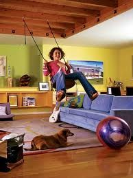 A cool basement play space idea. like the colours ( minus the swing)