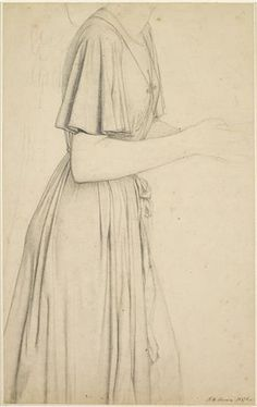 Oure Ladye of Saturday Night - Drapery Study for Angel Holding a Bowl of Water  By Ford Madox Brown