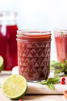 Give your mind and body a boost with this tart cherry superfood shot. Tart cherry juice is rich in heart-healthy polyphenols and anthocyanins, which can help fight free radicals and thwart inflammation. #smoothies #smoothierecipes #healthysmoothies #smoothieideas #healthyrecipes Fruit Smoothies, Healthy Smoothies, Smoothie Recipes, Tart Cherry Juice, Large Glass Jars, Protein Snacks, Serving Size, Superfood, Heart